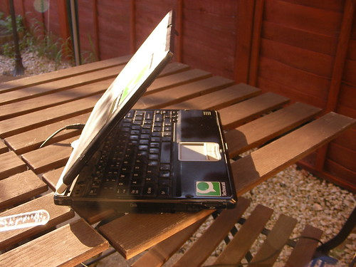 hot laptop in the sun