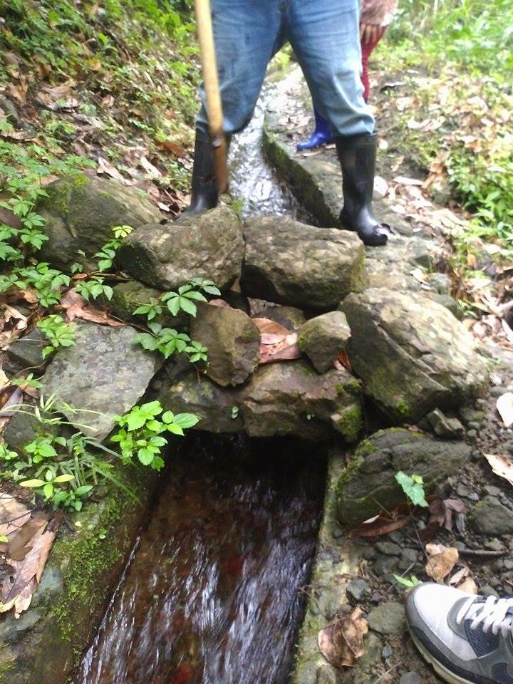 過去老人家的智慧,當充滿雜質的大水沖下來時,先拿大石頭擋住水就好