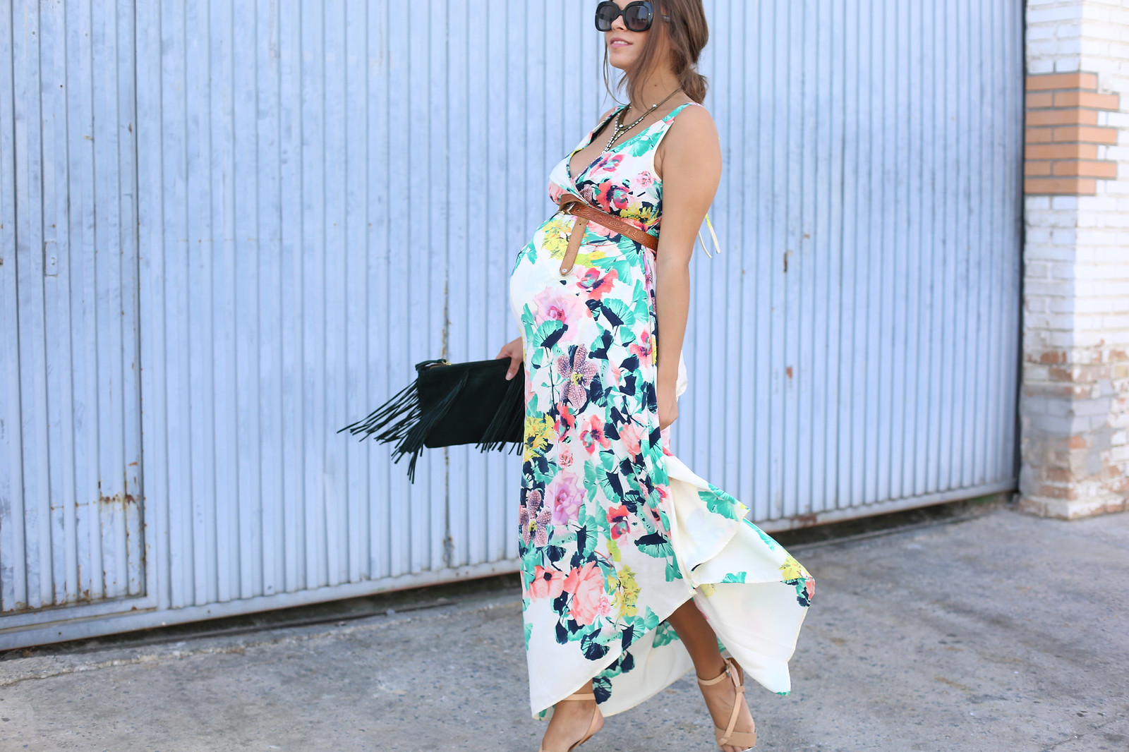 2. long floral boho folk dress - jessie chanes - pregnancy