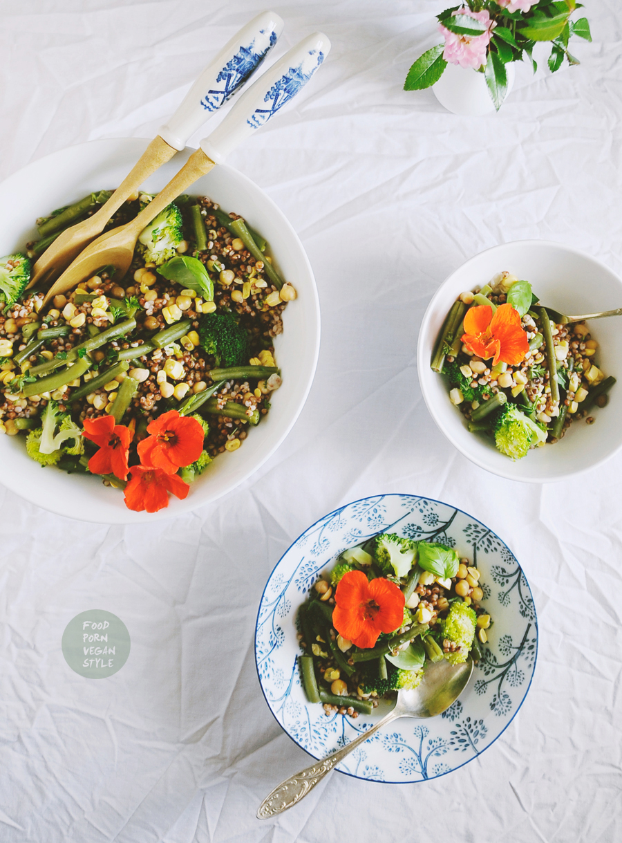 Sorghum summer salad with green beans, sweetcorn, nasturtium and bee balm