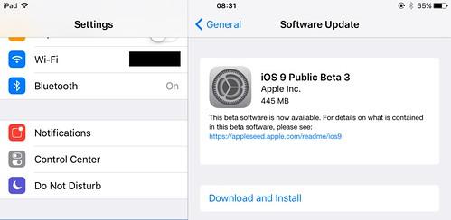 iOS 9 public beta 3