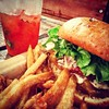 Swiss Onion Burger, Fries and the amazing Strawberry Basil Lemonade @ #HacheLA. by nick_a