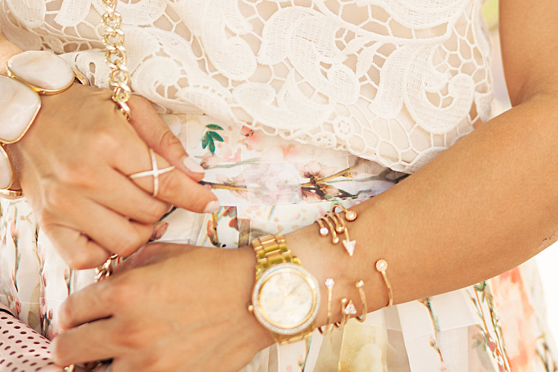 cute & little blog | petite fashion | embellished cuff set, criss cross ring, crystal face watch | accessories