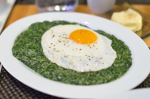 Creamed Spinach with Fried Organic Egg