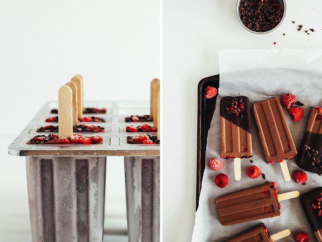 Raw raspberry fudge pops + homemade magic shell