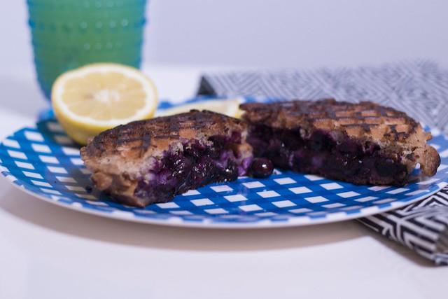 lemon blueberry brie waffle sandwich