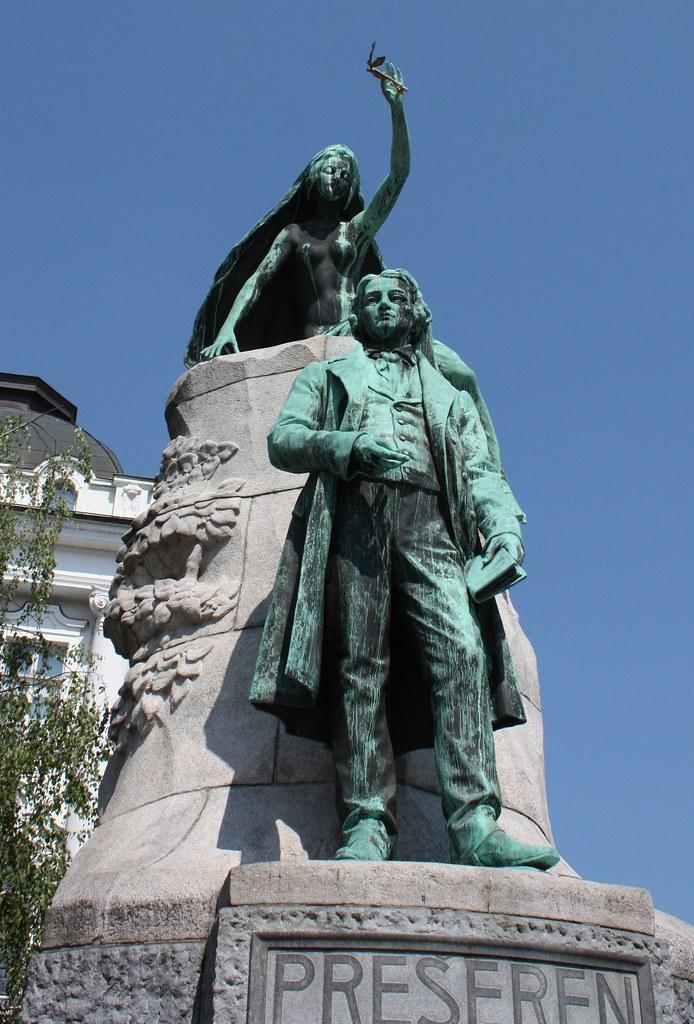 Preseren Statue in Ljubljana Slovenia