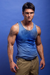 arm, chest, model, abdomen, male, man, muscle, limb, physical fitness, blue, bodybuilding,
