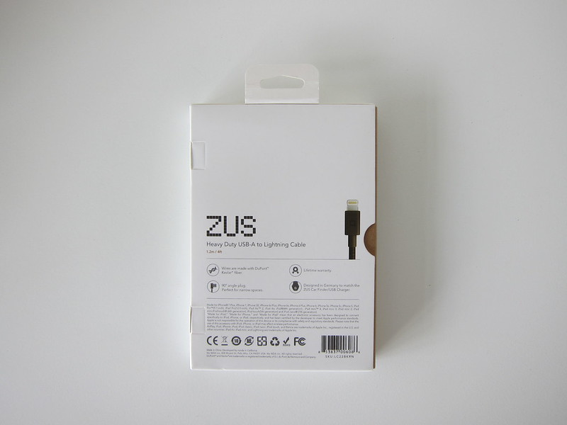 ZUS Super Duty Lightning Cable - Box Back