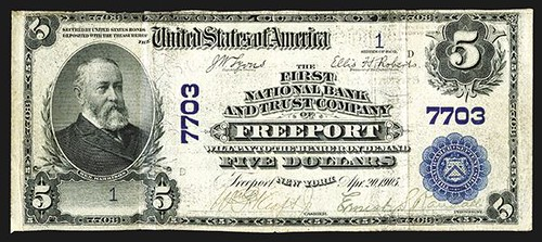 Number 1 Freeport National. Freeport, New York. $5 1902PB