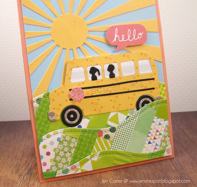 Jen Carter Quilted School Bus Hello Closeup