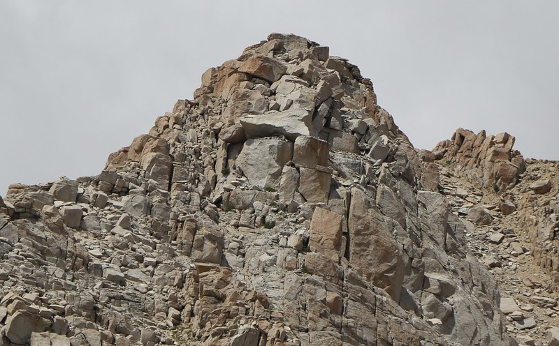 Close-up of Peak 12369 (Army Pass Point) in the Cottonwood Lakes Basin looks even more like a face