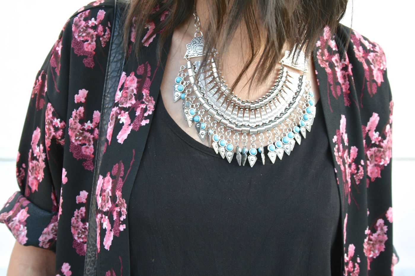 boho sliver and turquoise necklace