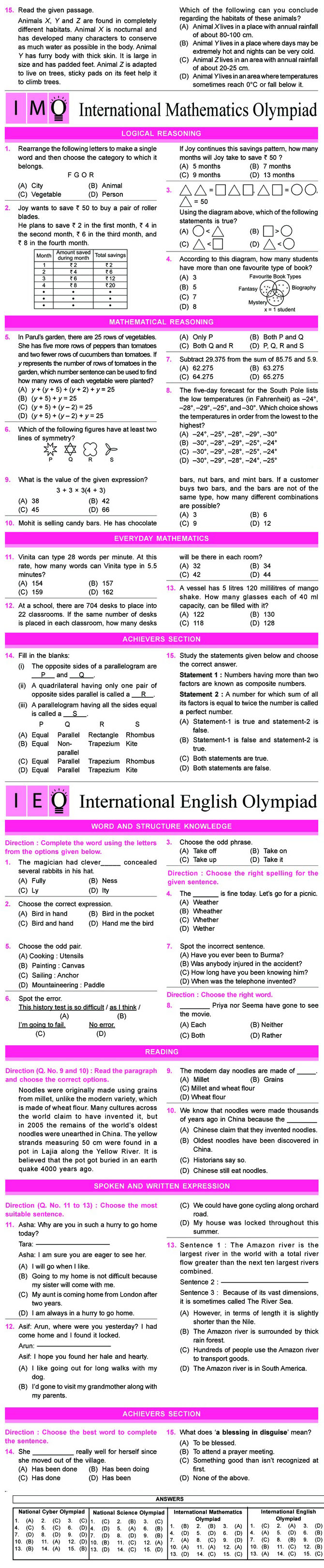 NCO, NSO, IMO & IEO Class 6 Sample Papers