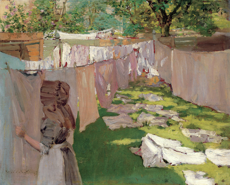Wash Day - A Back Yard Reminiscence of Brooklyn by William Merritt Chase, 1886