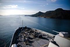 USS Green Bay (LPD 20) departs Fleet Activities Sasebo, Japan, Jan. 25. (U.S. Navy/MC1 Chris Williamson)