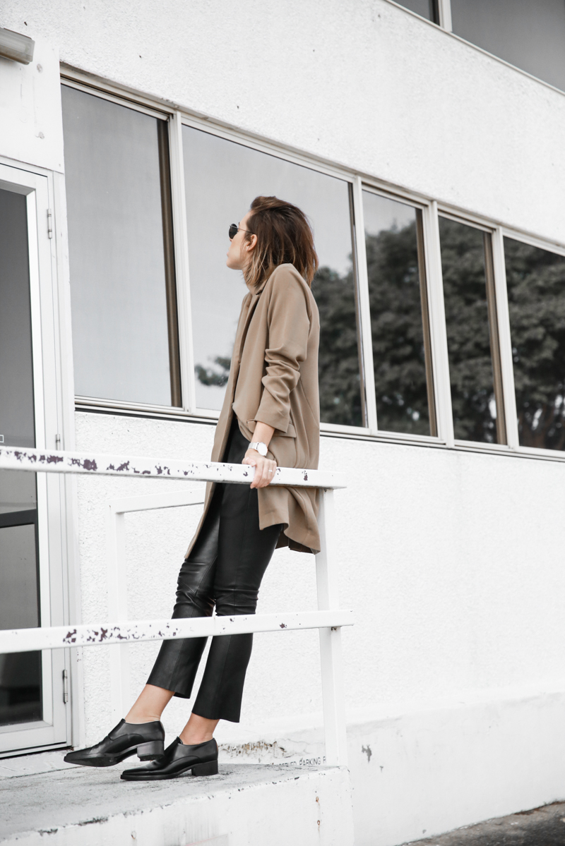 modern legacy, fashion blog, leather pants, street style, loafers, neutrals, Stella McCartney shoes, boyfriend blazer, ASOS, minimal (1 of 1)