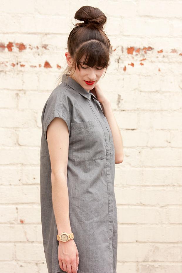 Everlane Shirtdress, Jord Watch, Minimalist Style, Red Lips