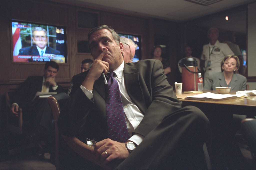 CIA Director George Tenet Listens to President Bush's Address in the President's Emergency Operations Center (PEOC)