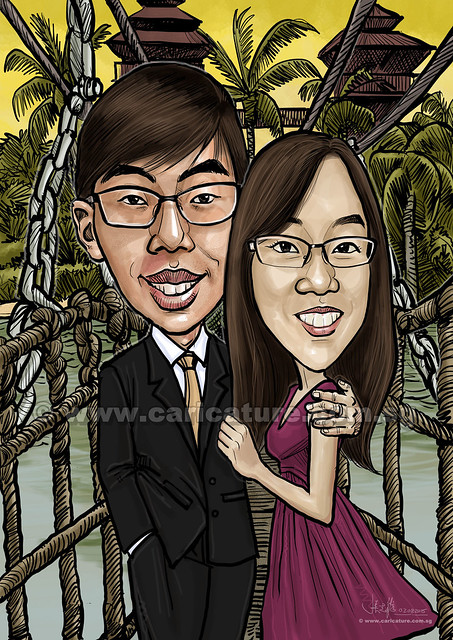 wedding couple digital caricatures (watermarked)
