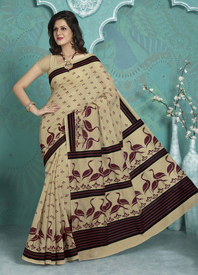 Cream Beautiful Designer Printed Cotton Art Silk Saree With Blouse Piece Sarees on Shimply.com