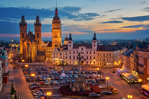 street city sunset urban tower history cars monument skyline architecture square lights twilight nikon europe cityscape cathedral dusk parking landmark czechrepublic bluehour hdr hradeckralove