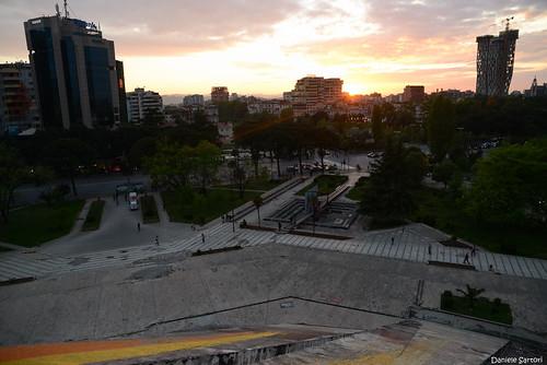 city trip travel sunset skyline museum nikon europa europe tramonto pyramid capital journey museo capitale albania viaggio città piramide scutari tirana enver d600 balcani shqiperia hoxha shkoder