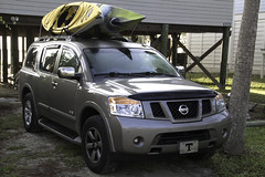 pickup truck(0.0), truck(0.0), nissan navara(0.0), automobile(1.0), automotive exterior(1.0), sport utility vehicle(1.0), vehicle(1.0), compact sport utility vehicle(1.0), nissan armada(1.0), nissan(1.0), bumper(1.0), land vehicle(1.0),