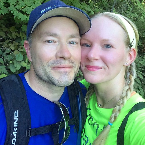 """Flushed and sweaty, hiking in 85-degree July heat. And Josh's uncle says hiking isn't a """"sport"""". Ha! (tell that to my calves today)"""