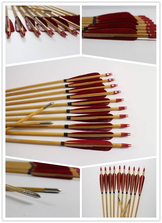 red feather fletched wood arrows