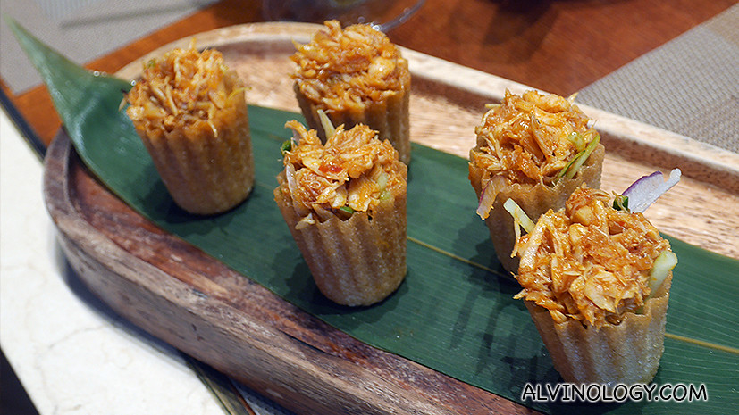 Kueh Pie Tee stuffed with Chilli Crab - brilliant idea and tastes really good!