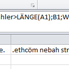Excel Text rückwärts schreiben