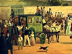 Cab for Sorrento (Detail) - The railway station at Castellammare di Stabia / Naples (1843) by Salvatore Fergola (Naples 1796-Naples 1874) - Exhibition Fergola. Lo splendore di un Regno, up to April 2, 2016 at Museum Zevallos in Naples