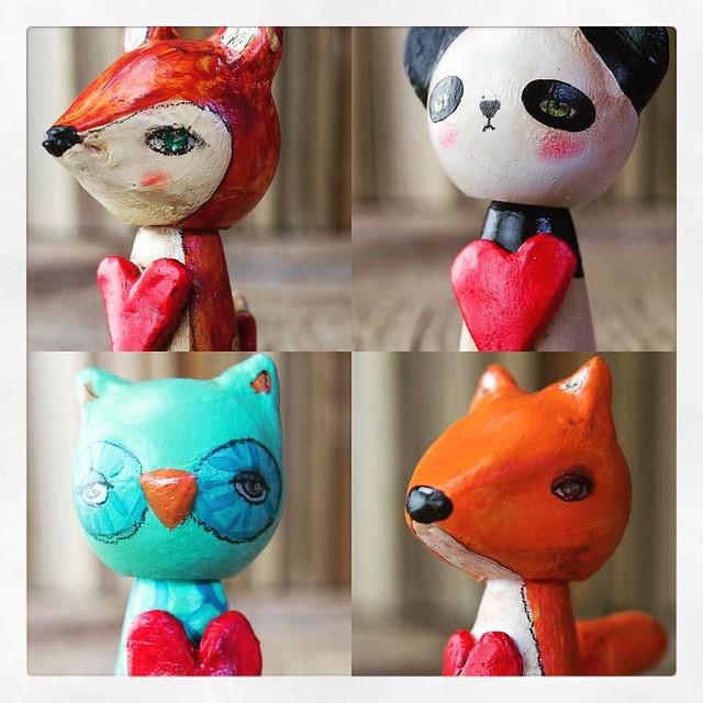 New special edition kokeshi dolls. Just these 4 this year. Just for you. Get them at danitaart.com #danita #danitaart #available #doll #woodendoll #wooddoll #pegdoll #kokeshi #woodland #valentines #deer #panda #bear #fox #owl