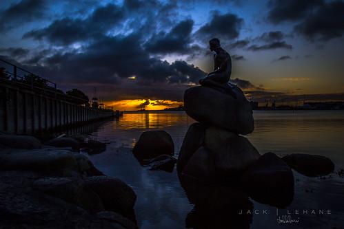 sunrise copenhagen landscape harbour mermaid
