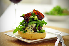 Beef hamburger with stilton blue cheese, avocado a…