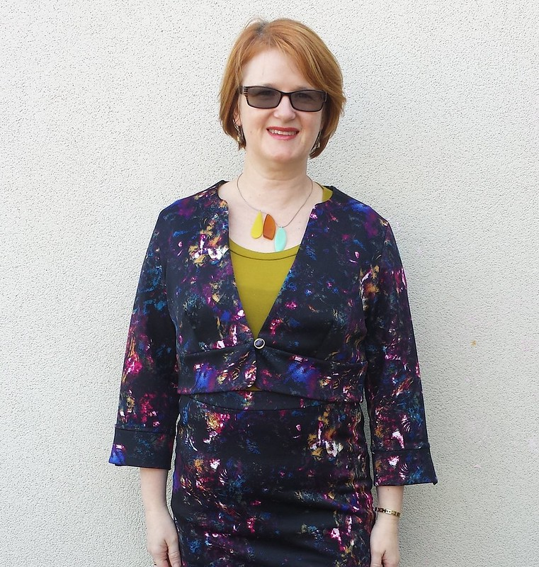 Lekala 4108 jacket and Itch To Stitch Lindy Petal skirt in scuba from Darn Cheap Fabrics