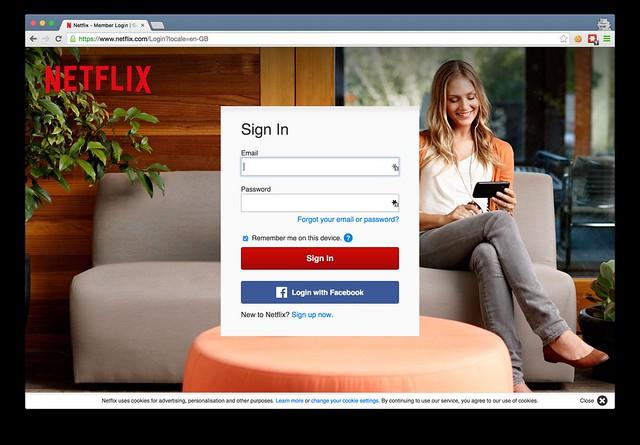 Netflix login page