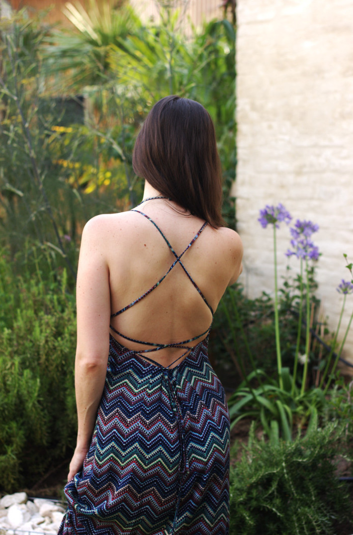 chevron maxi dress with lace up back