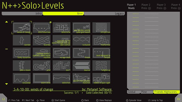 N++ on PS4: Levels Menu