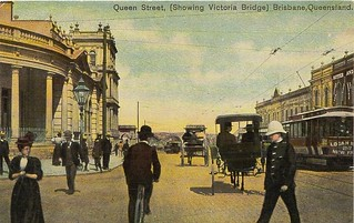 Image of Queen Victoria. city bicycle vintage postcard tram australia brisbane queensland tinted queenstreet policeman victoriabridge sulky colouredshellseries