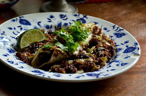 Black Bean & Red Quinoa Enchiladas with Salsa Verde