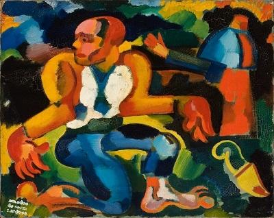 33.- Crime - abysmo azul, remorso physico, 1914-1915. óleo sobre tela, Coleção particular em depósito no Museu municipal de amadeo de Souza-
