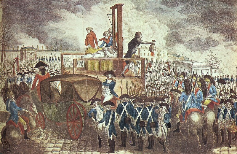 Copperplate engraving of execution of Louis XVI, by Georg Heinrich Sieveking