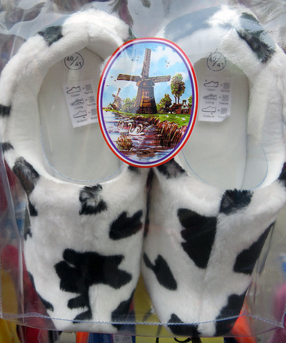 Fuzzy Wooden Shoe Slippers in a Dairy Cow Pattern