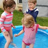 Three little bugs in a pool.