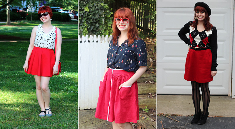 Petite Panoply: Wearing Red Skirts with Red Hair