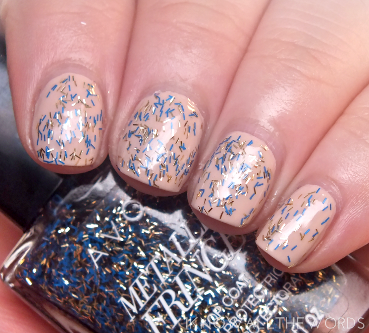 avon metallic fringe top coat jacquard metal