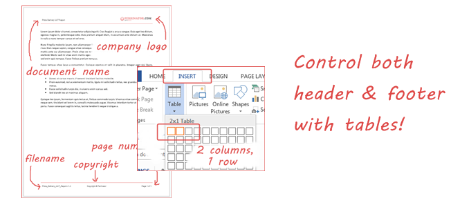 Using Table to Control Header and Footer in Word – Part I (Word 2013)