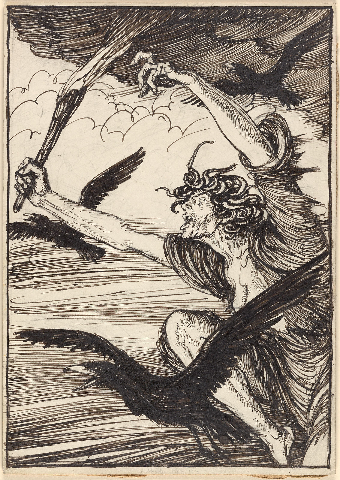 "Edmund Joseph Sullivan - The fires of Hell brake out of thy rising sun. Illustration from ""Maud, a monodrama."" by Alfred and Baron Tennyson, 1922"